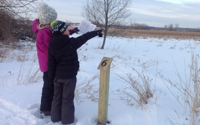 two children on a winter trail