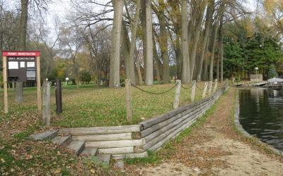 wall and walk before construction at Mendota County Park