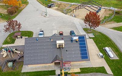 solar panel installation and shelter construction