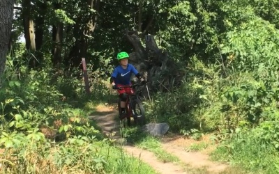 Mountain Biker on the trail at CamRock County Park