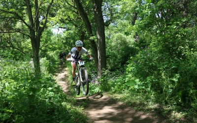Mountain Biker on trail