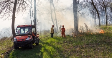 Volunteers conduct a controlled burn